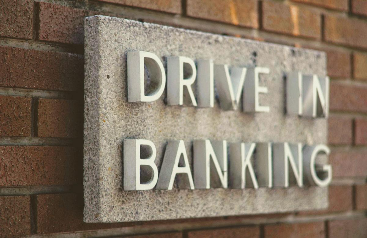'Drive-in Banking' sign