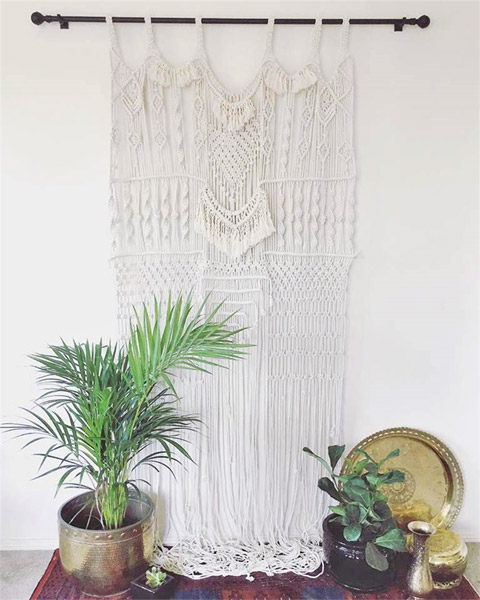 Curtain-style macramé wall hanging by Emilia Lorena