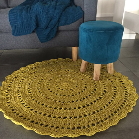 Crochet floor rug by Miranda Jane