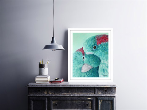 Signed giclee print of original 'Love Bird' painting by eNVy artworkz