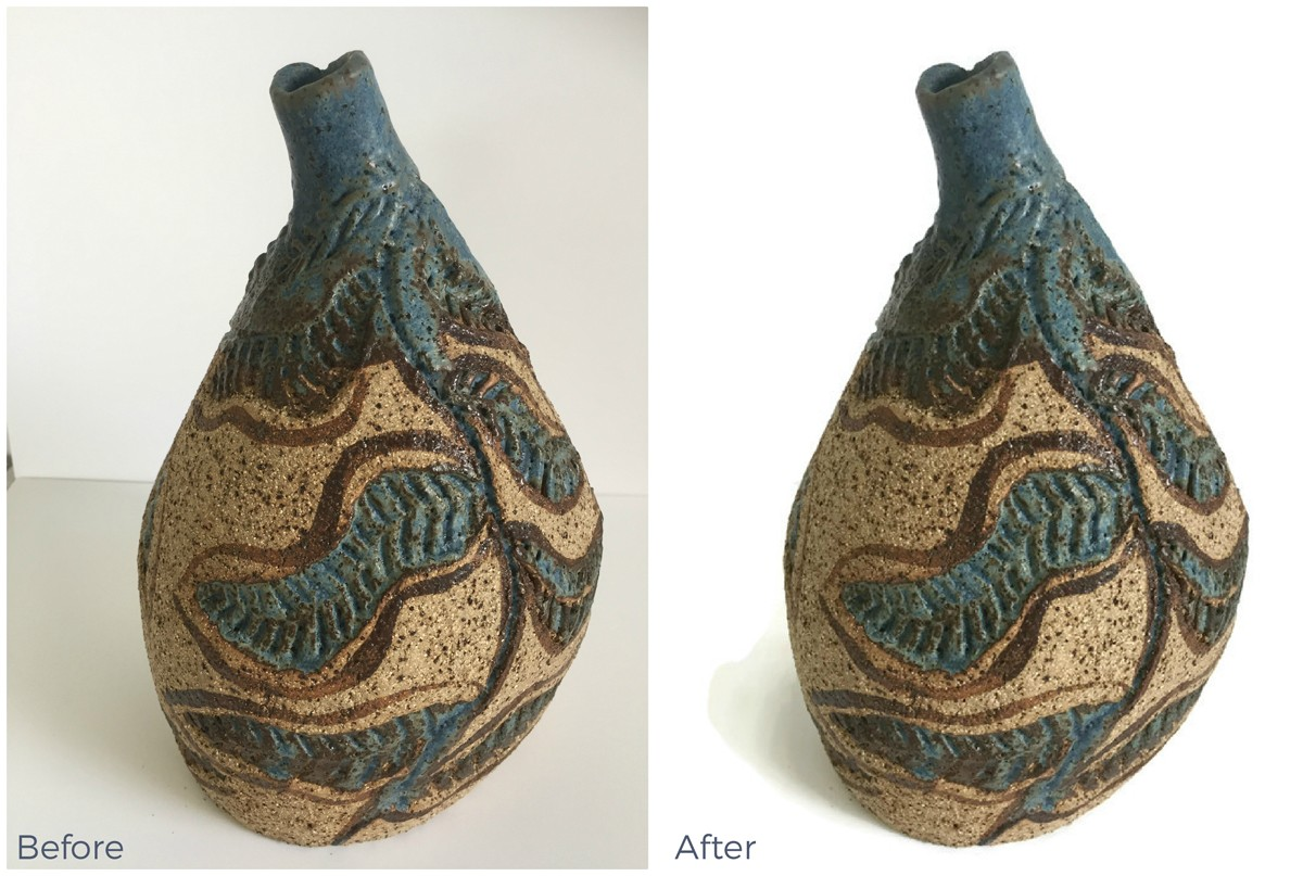 Before and after images showing the background removed from a product photo using the free FotoFuze tool