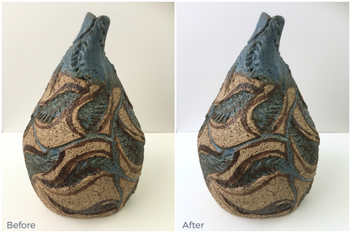 Before and after images of the same pot when using iPiccy to correct a yellow clour cast