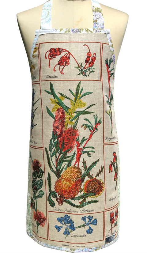 Reclaiming the Australian Christmas: Look festive as you cook for the hoards in this Australian wildflower apron by Merry-go-round.