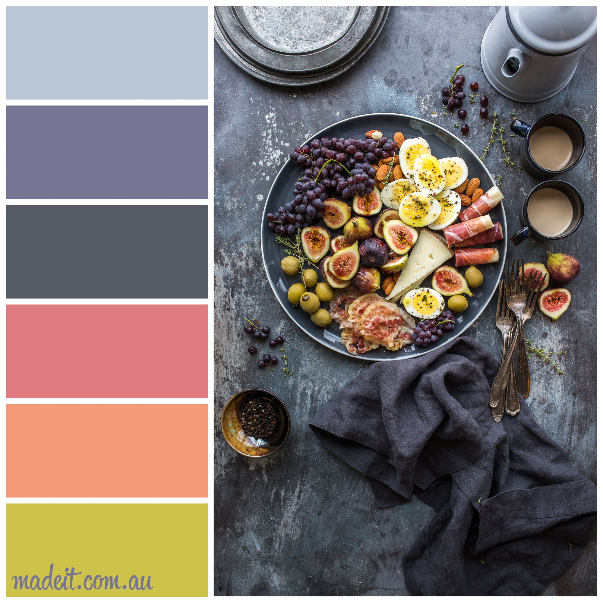 Colour Inspiration: a platter of autumn fruits, cheese, cured meats, and grapes