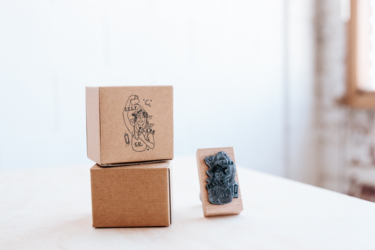 Custom rubber stamps from Woodruff & Co. are a great way to create custom packaging on a budget