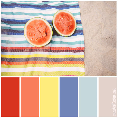 Colour Schemes to Inspire.  Nothing says summer fun quite like watermelon at the beach! Bring. It. On.