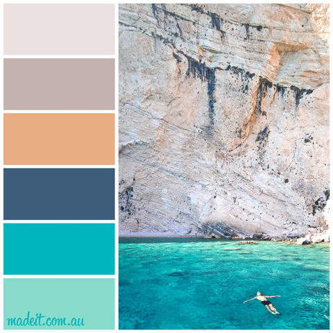 Colour Schemes to Inspire.  From where you'd rather be: turquoise waters and sandy cliffs with a pop of tangerine. Picturing this scheme in an open plan living space… yes please!