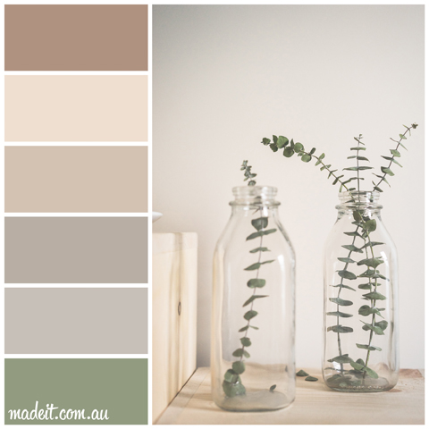 Colour Schemes Inspired by Nature: a peaceful palette of pale beech wood and freshly cut foliage