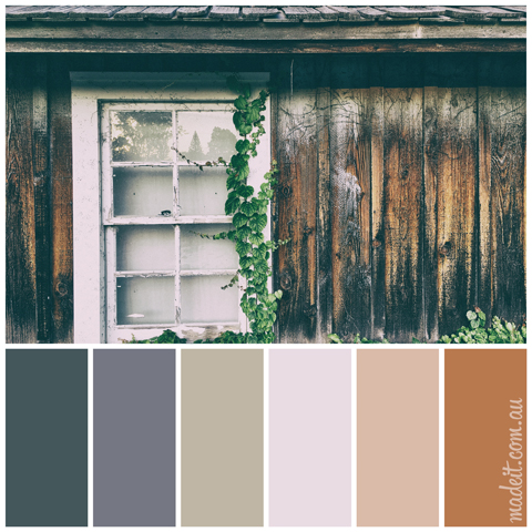 Colour Schemes Inspired by Nature: these darker shades worn timbers and deep green accents have a distinctly rustic appeal.