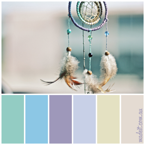 Pretty Pastel Palettes for a Dreamy Festive Feel:  You don't get much dreamier than dream catchers.