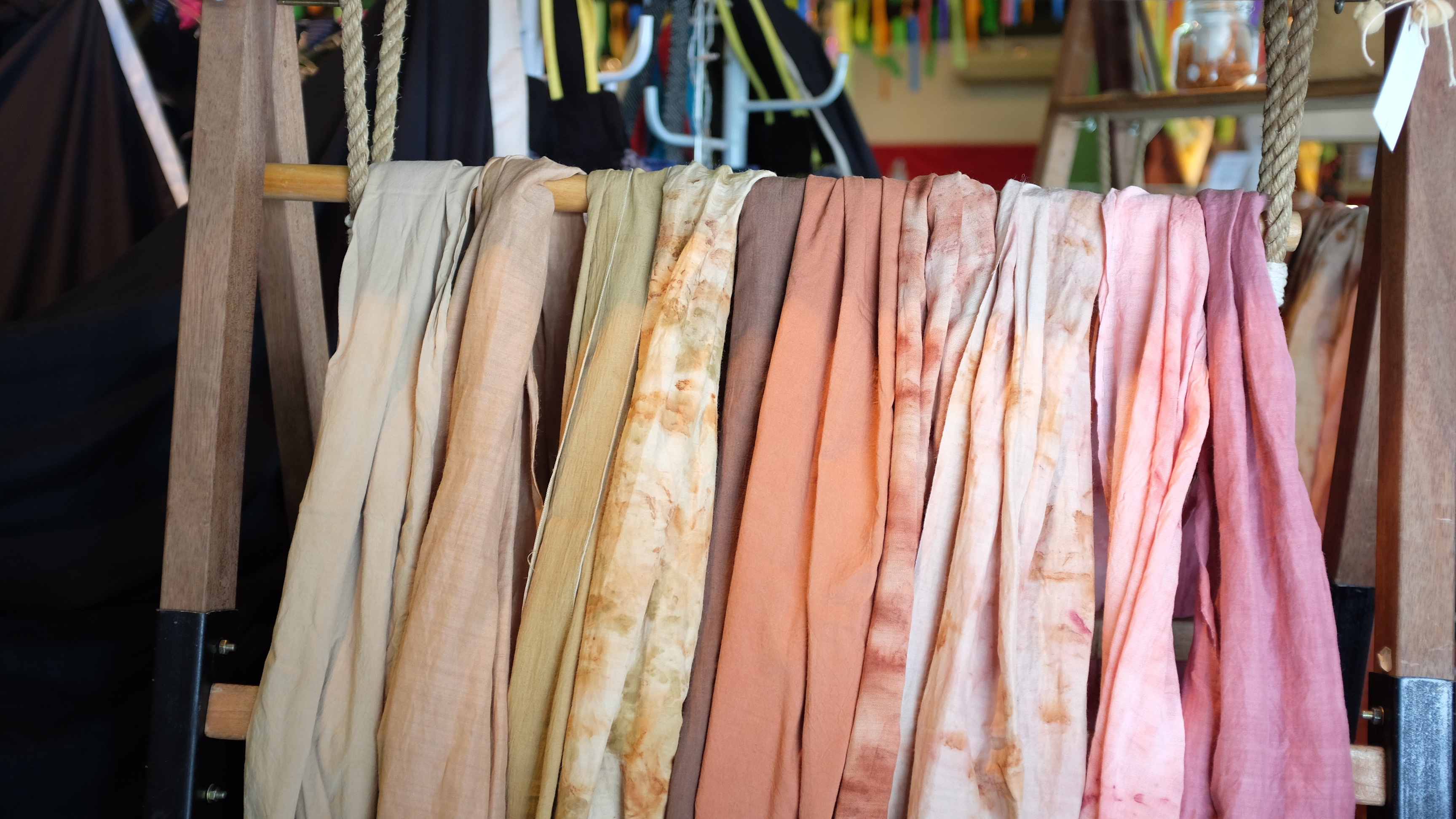 6 Ways to Reduce Your Fashion Footprint: Swaths of hand-dyed fabrics