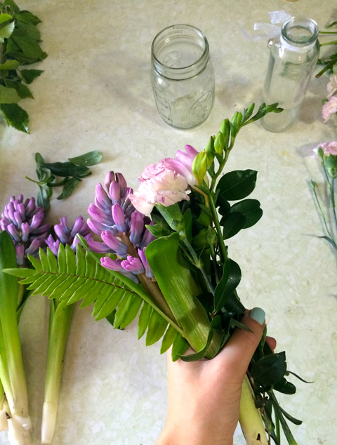 On-hand flower arranging