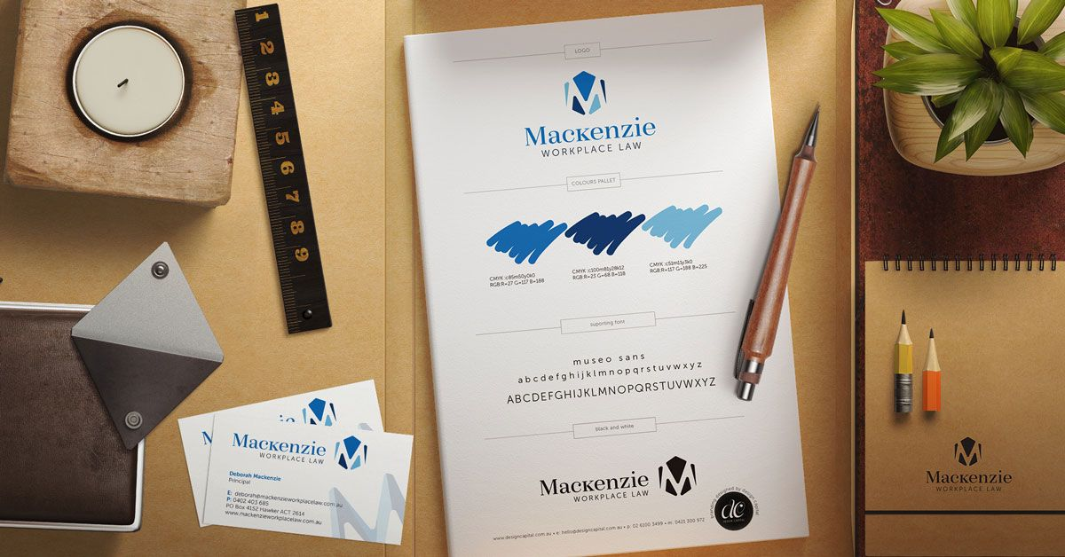 Branded stationery on a work desk