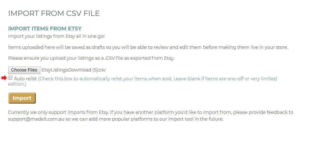 Choose to Auto Relist made-to-order or readily available products