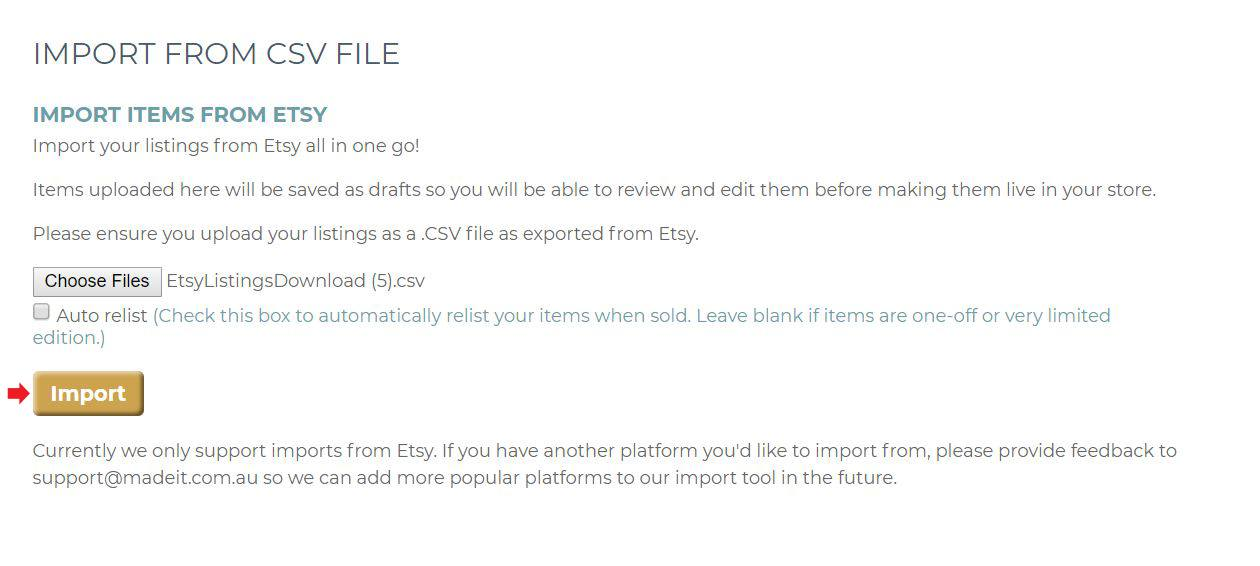Click the Import button to upload your products to your Madeit store