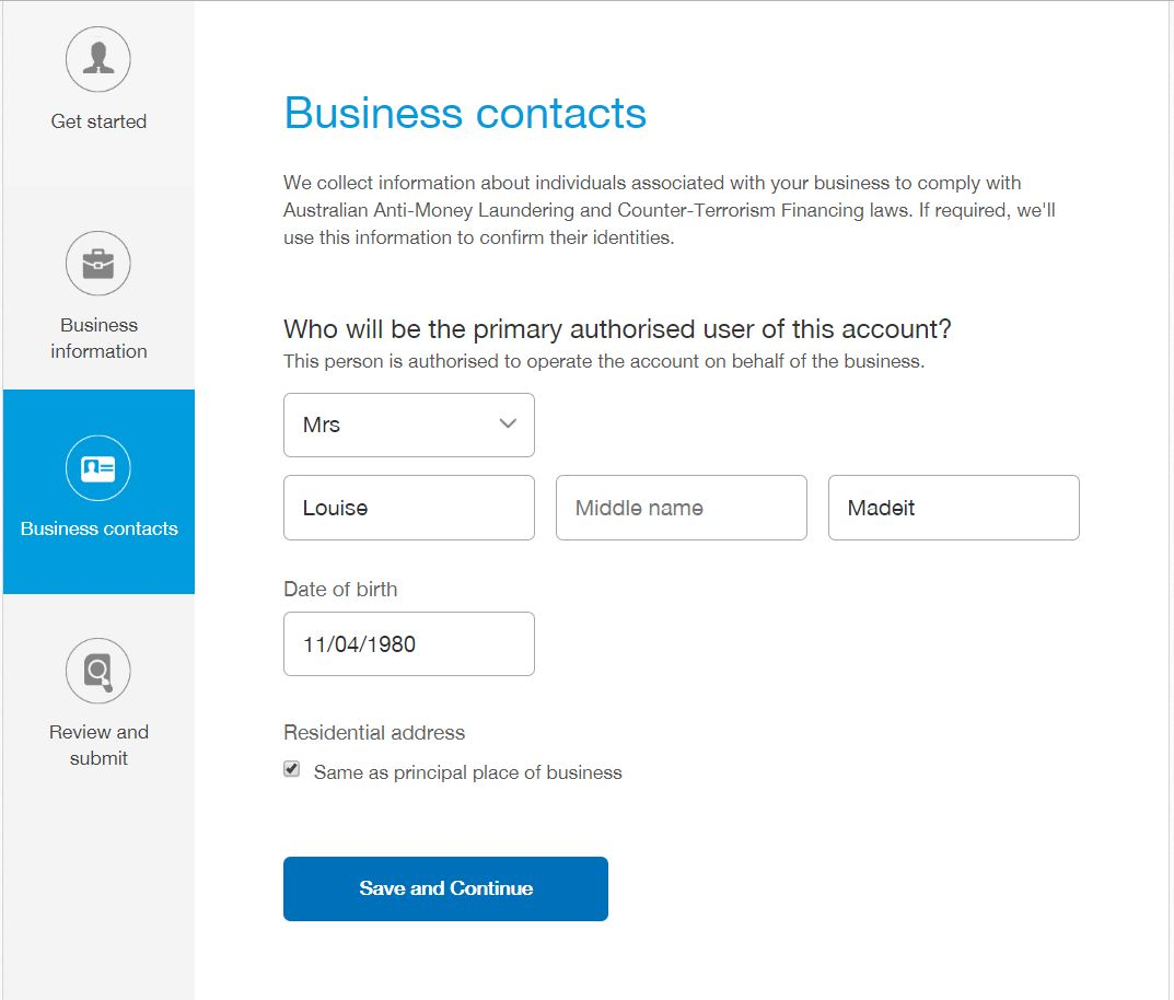 Finally, you need to enter some personal information about yourself as the operator of the business and /or owner of the account.