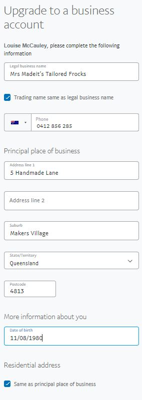 If you've selected Sole Trader as your business type you can use your own legal name if you don't have a business name.
