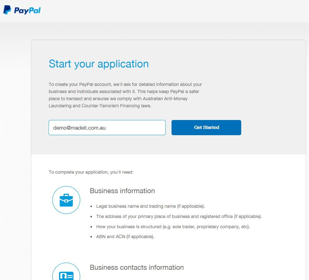 Note that all PayPal notification emails will be sent to this email address and you will need to verify your email address before you can accept payments.