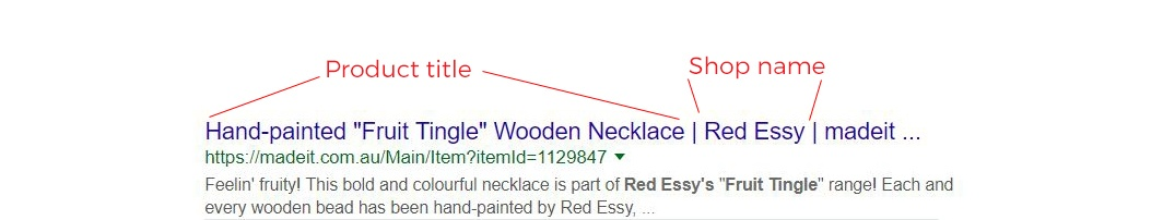 Anatomy of a Google search result: effective meta title structure for your handmade store