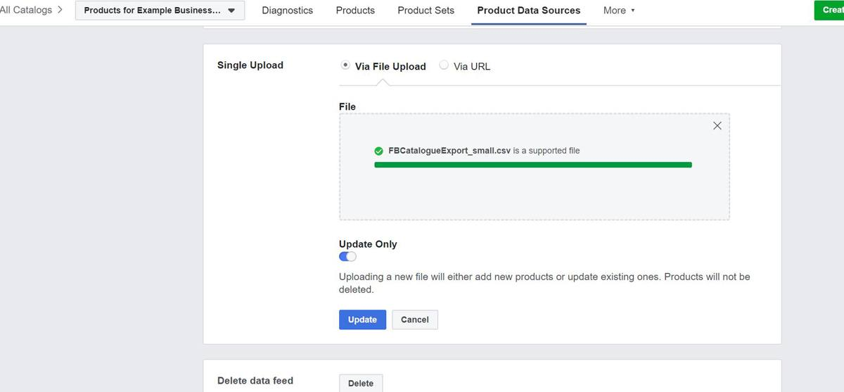 Select your new file and once Facebook has validated your new data you're all done!
