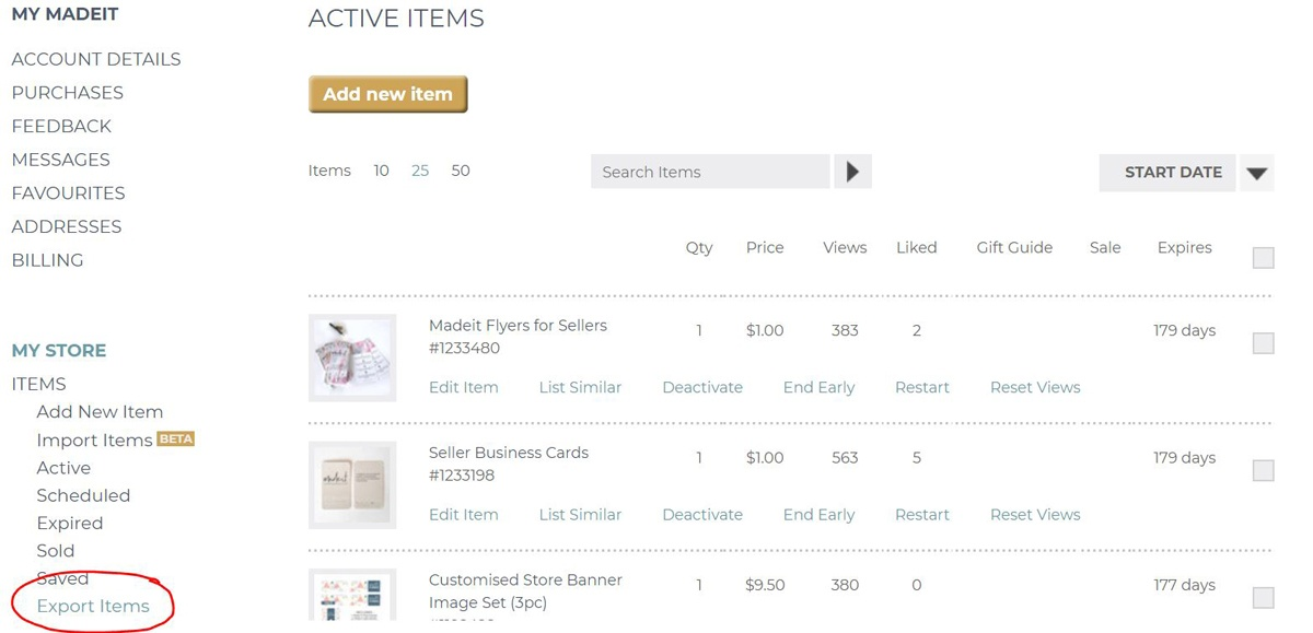 To export your product details from Madeit, make sure all the required products are active and up-to-date in your store, then click on the Export Items link in the left menu.