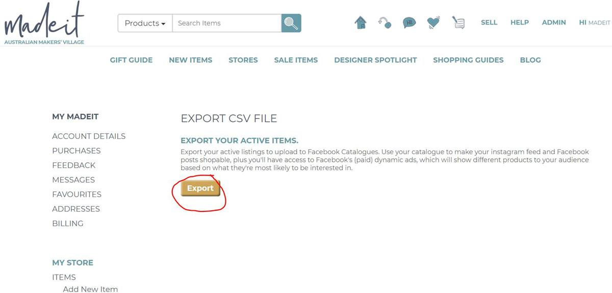 Just click the Export button to save your listings as a .CSV file.