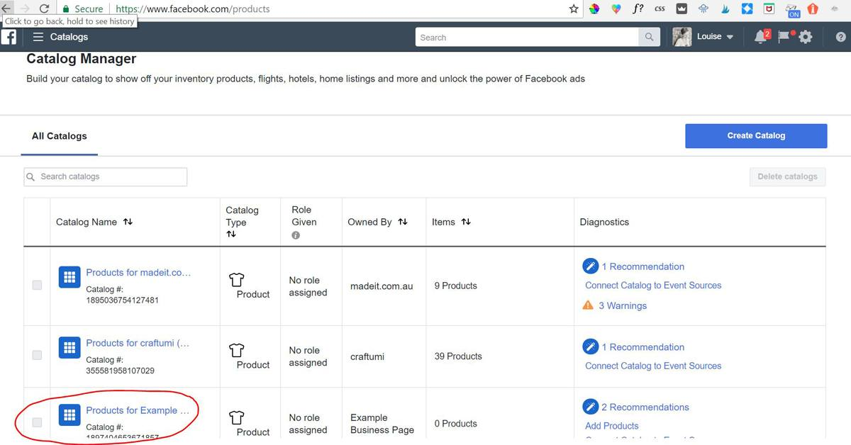 If you only have one page and you haven't created any catalogs already, you should just see the one default catalog for your Facebook Store. It will be named 'Products For [Your Facebook Page Name]. Click on the catalog name.