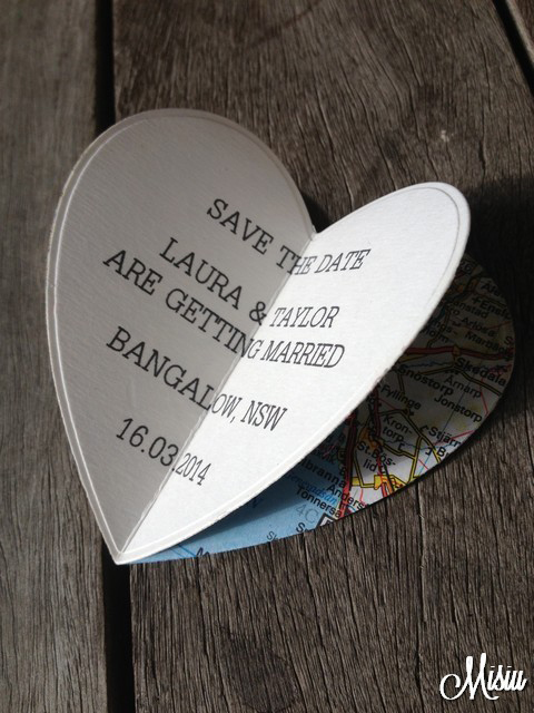 3D heart-shaped save-the-date fridge magnet by Misiu