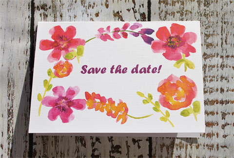 Watercolour save-the-date cards by Sambreezie