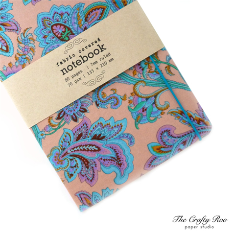Fabric-covered notebook by the crafty roo