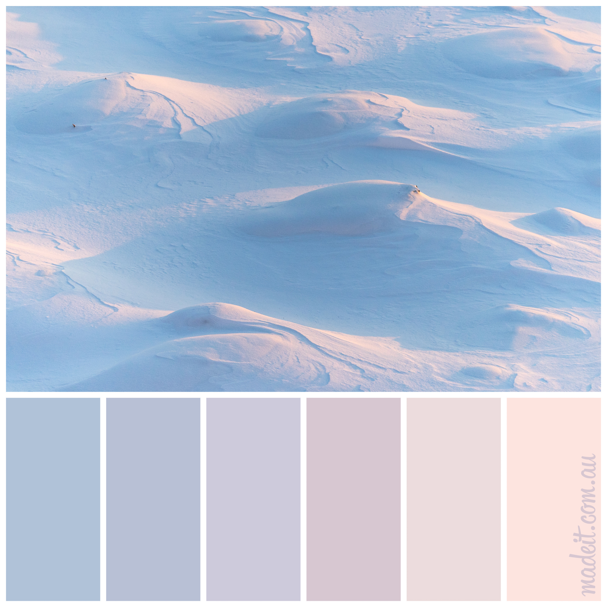 Landscape colour inspiration: rolling sand dunes painted pastel by the sunrise