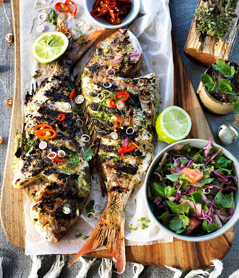 5 Healthy Summer Recipes: BBQ Whole Fish with Lemongrass & Lime Leaves via Gourmet Traveller