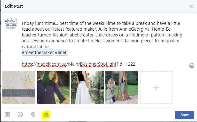 Click the Shopping bag icon to tag products in an existing published Facebook post