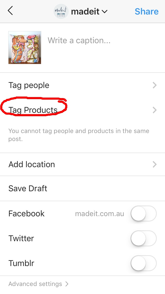 Choose Tag Products when creating a post