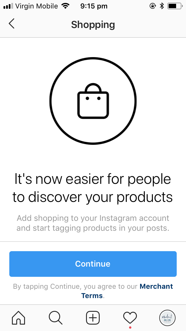 Setting up shoppable instagram