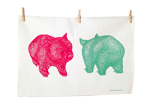 Wombat tea towel by Busaria Workshop