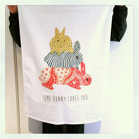 Some Bunny Loves You tea towel by Rondelle Douglas