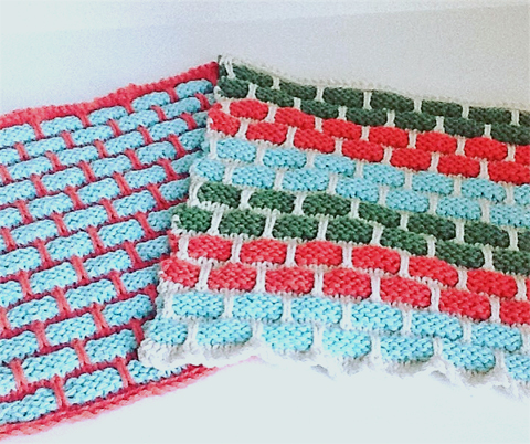 Hand-knitted reusable cotton dish cloths by Shazza's Knits