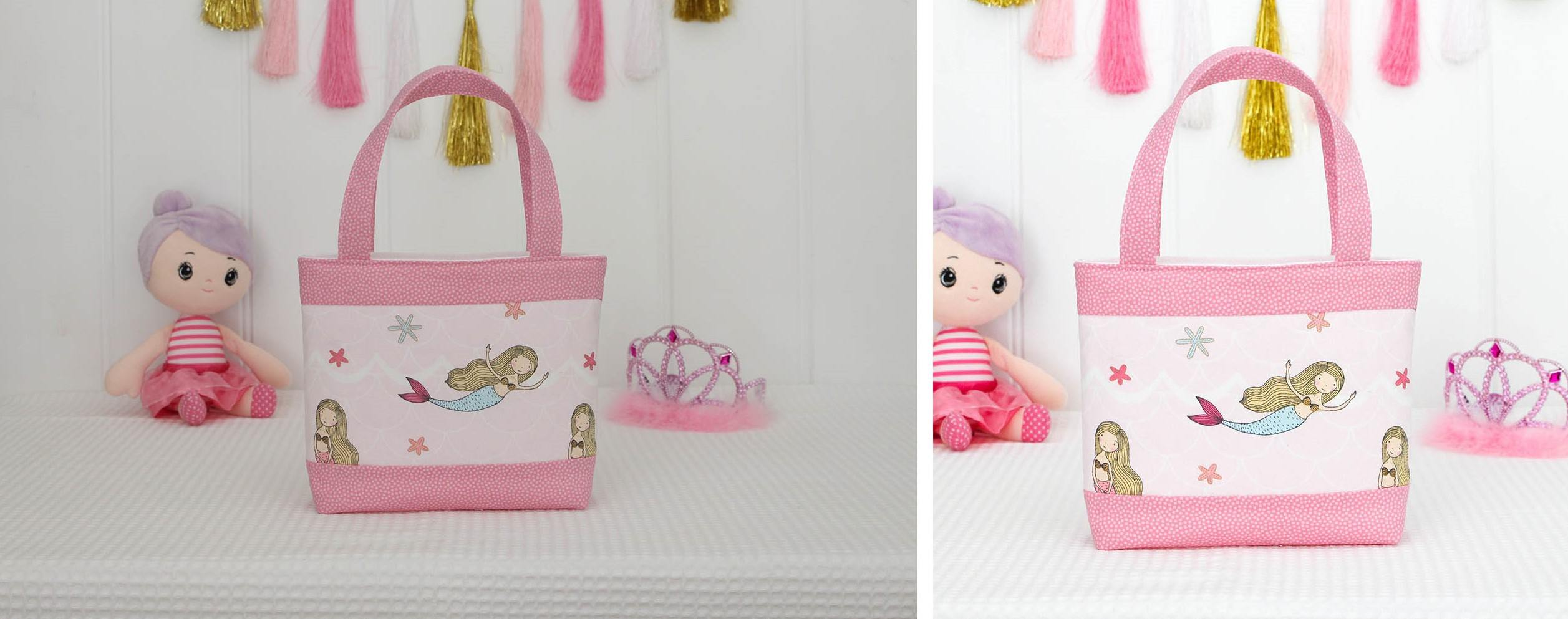 Before and after of children's handbag product photo cropping and brightening