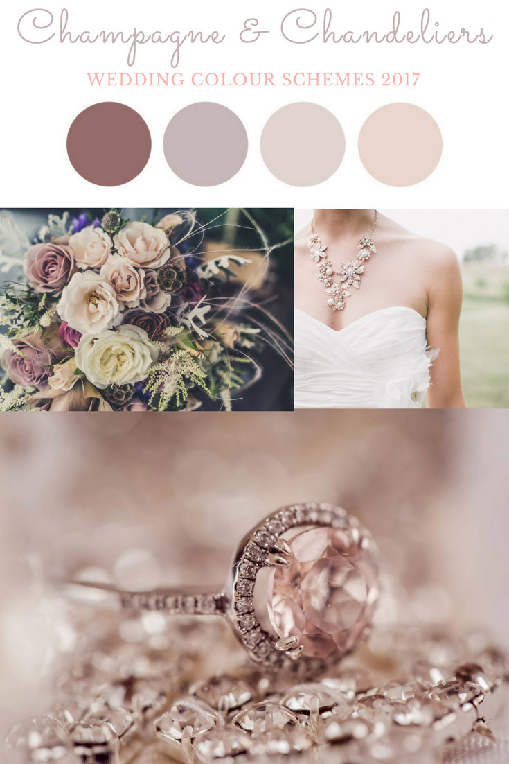 The opulence of champagne and chandeliers, in feminine blush tones