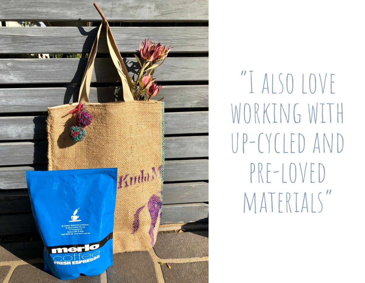 A hessian market bag handmade from upcycled coffee bags: 'I also love working with up-cycled and pre-loved materials'