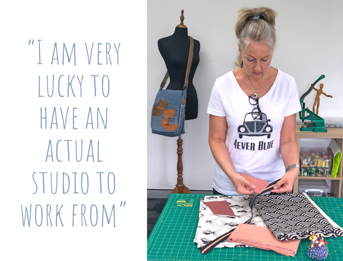 Nicole matching fabric and trims in the 4Ever Blue studio: 'I am very lucky to have an actual studio to work from'