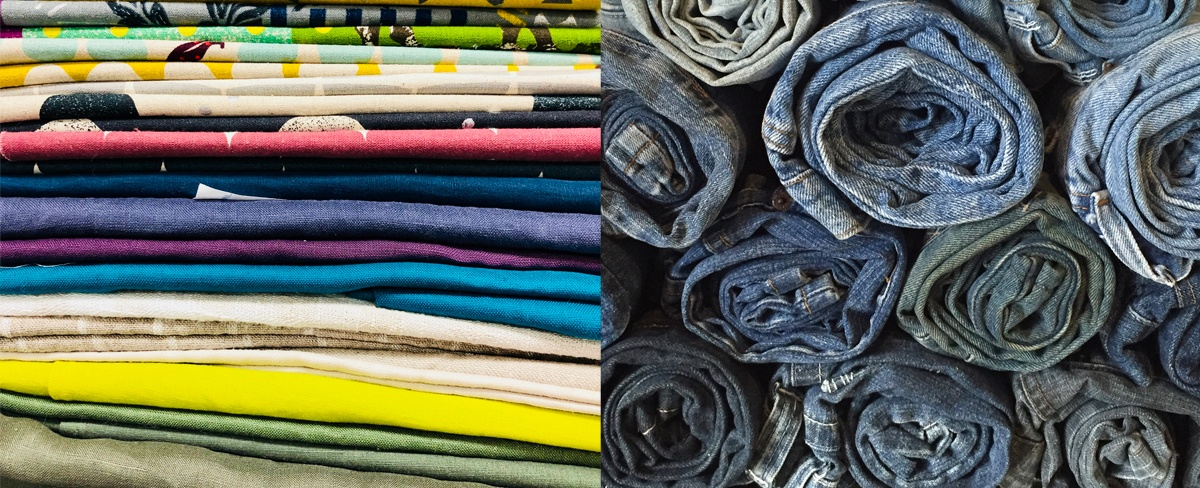 A colourful selection of Nicole's linen fabric collection, and a pile of salvaged denim jeans waiting to be reimagined by 4Ever Blue Creations
