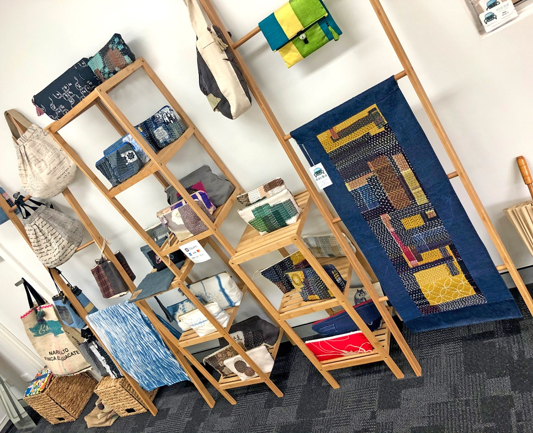 A range of Nicole's textile creations on display in her Brisbane studio