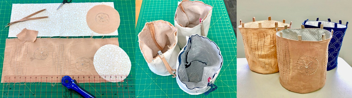 Work in progress: three stages of making a Japanese embroidered drawstring bag