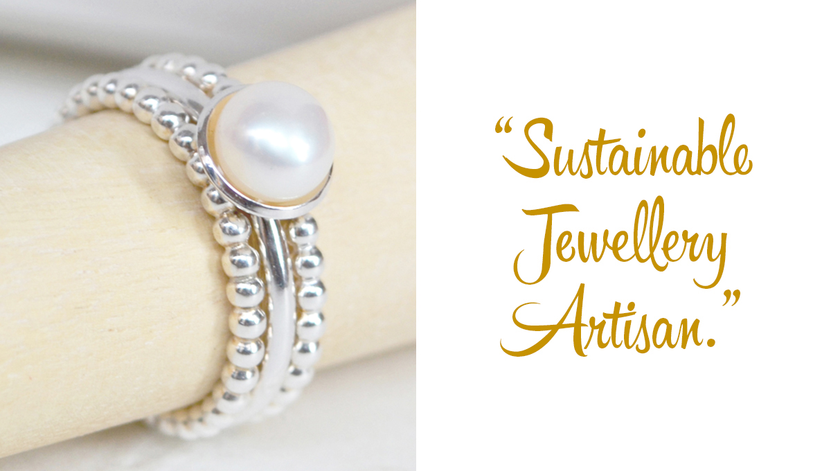 Rustic, cupped Pearl and Sterling Silver stacking rings