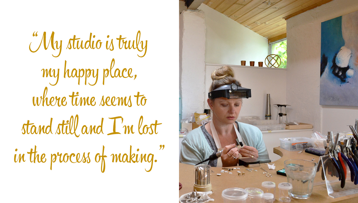 Arita working in her creative space: 'My studio is truly my happy place, where time seems to stand still and I'm lost in the process of making.'