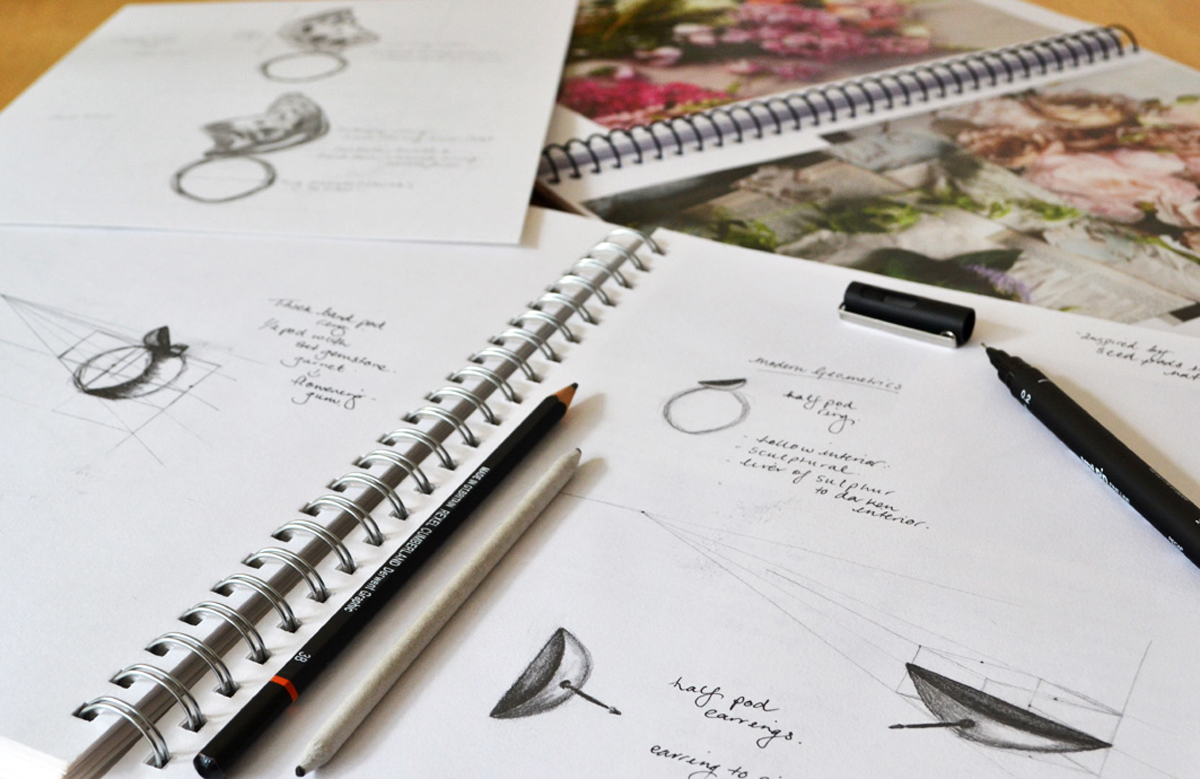 Sketches of jewellery designs