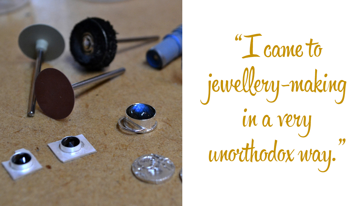 Arita's tools of the trade and earrings under construction: 'I came to jewellery-making in a very unorthodox way.'