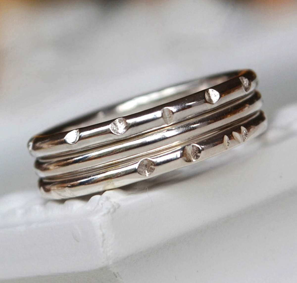 Sterling Silver organic hammered rings